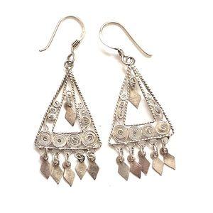Boho Sterling silver dangle earrings 925